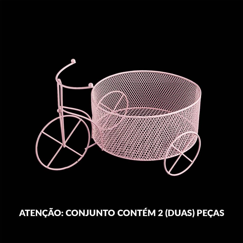 Conjunto 2 Bicicletas de Bebê Decorativa Rosa em Metal - 26x17,5 cm