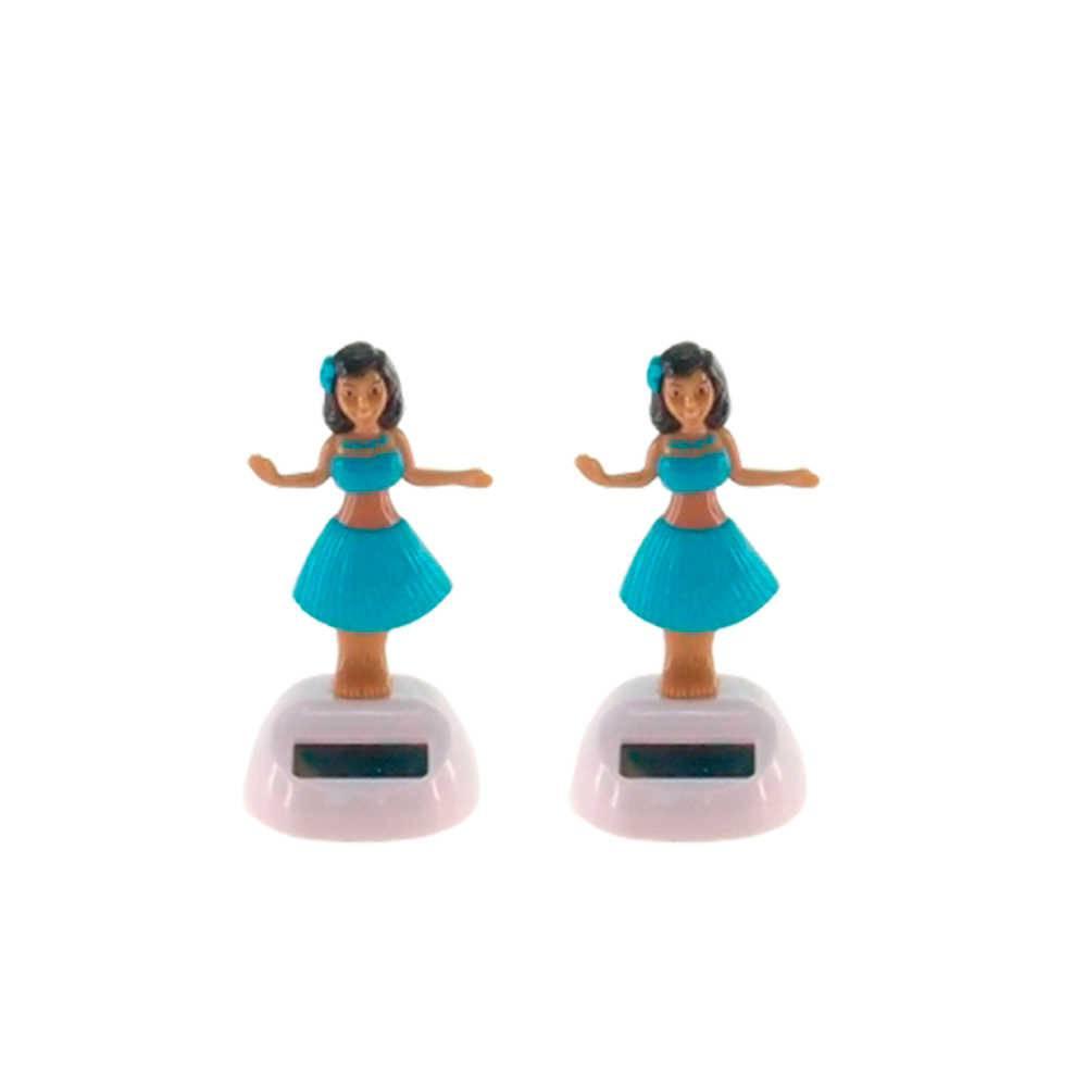 Conjunto 2 Bonecas Dançarinas de Hula Vestidas de Azul - 10x5 cm