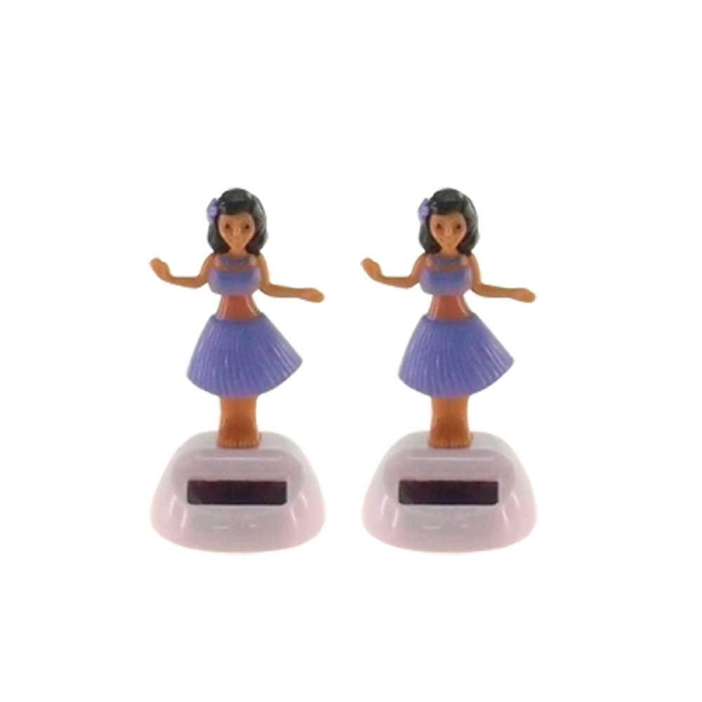 Conjunto 2 Bonecas Dançarinas de Hula Vestidas de Roxo - 10x5 cm