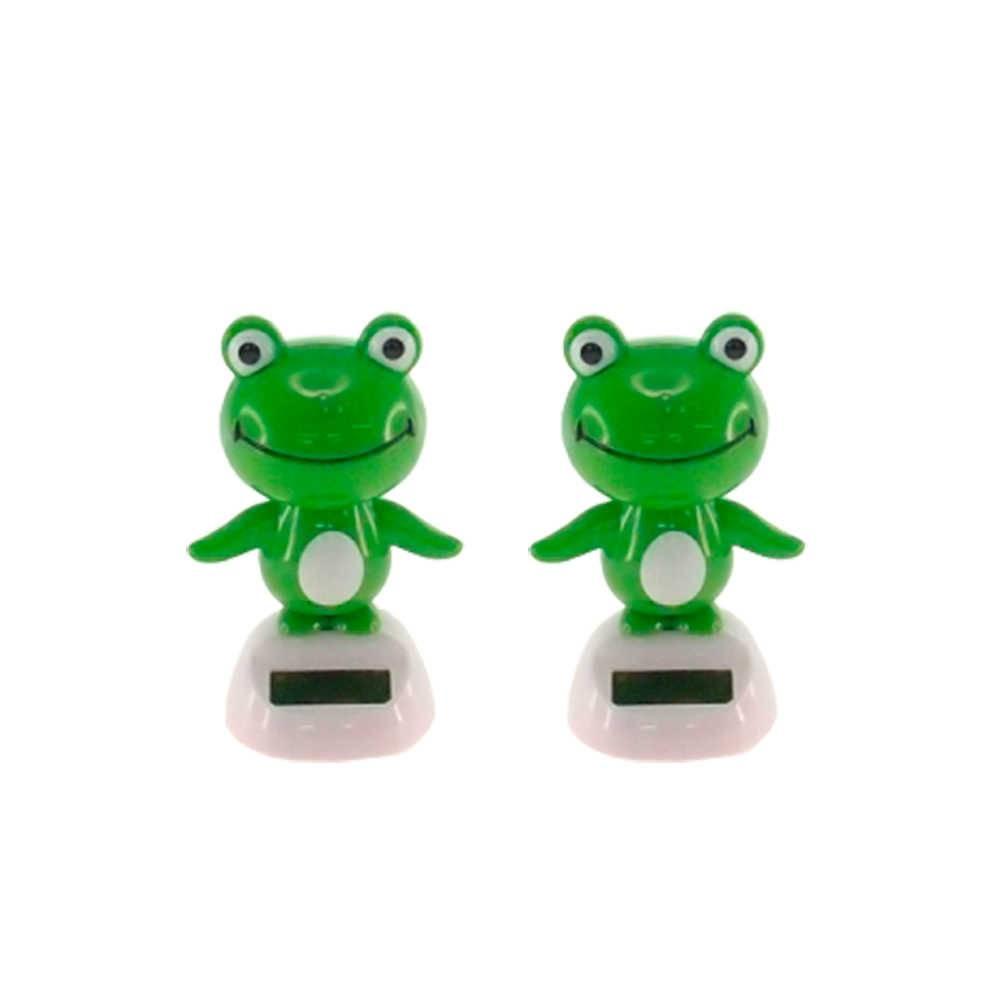 Conjunto 2 Bonecos Sapos Verdes Dançarinos de Hula - 10x5 cm
