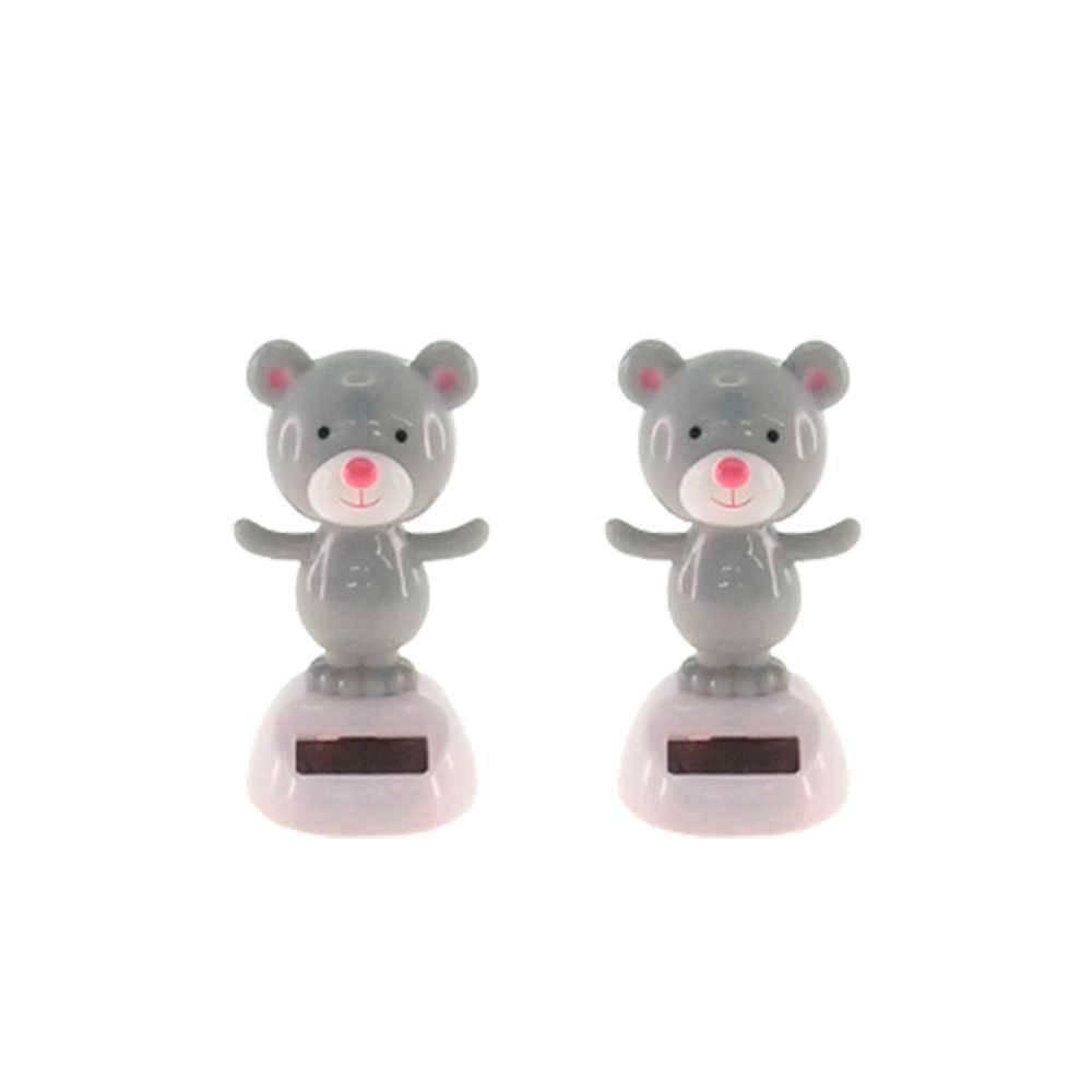 Conjunto 2 Bonecos Ursos Cinza Dançarinos de Hula - 10x5 cm