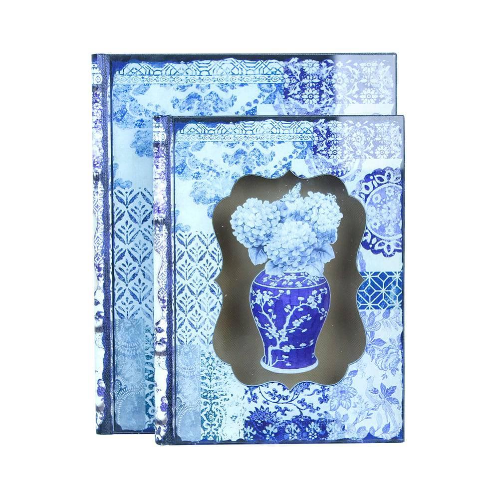 Conjunto 2 Book Box Hortênsia com Vidro Oldway - 30x24 cm