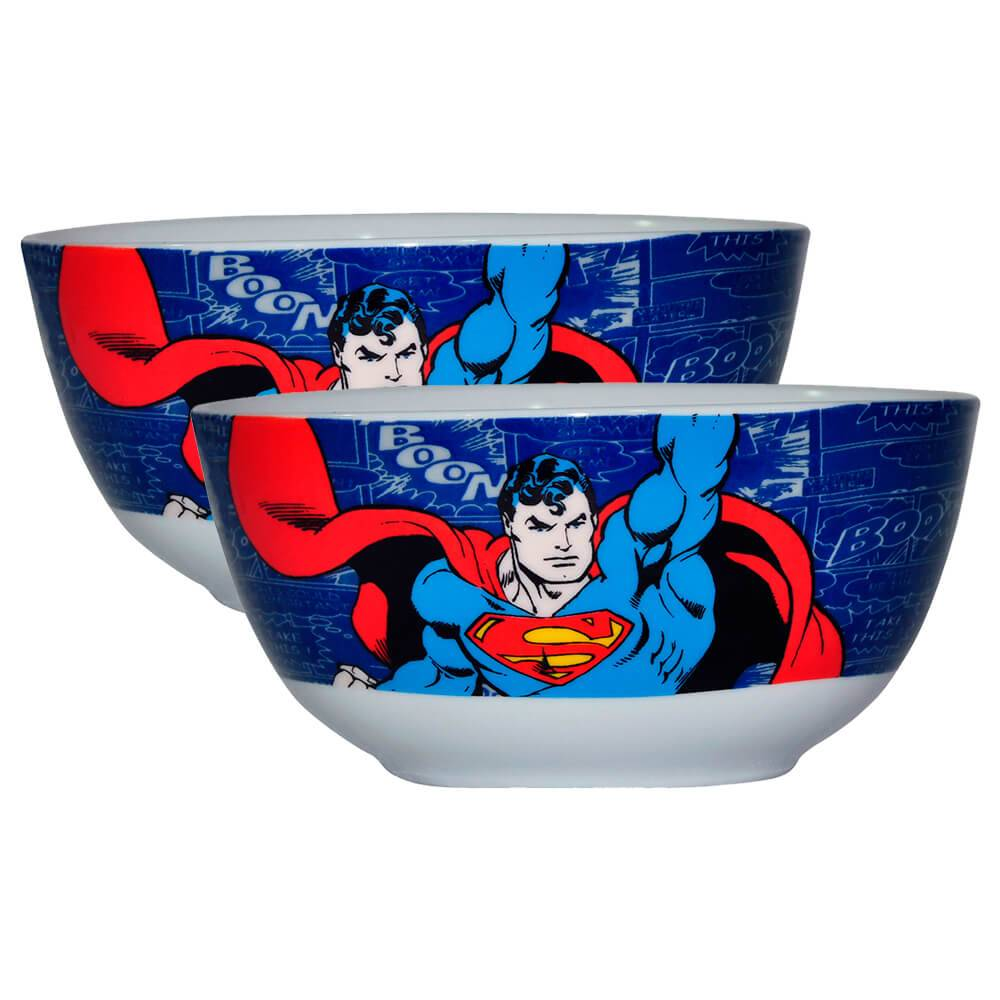 Conjunto 2 Bowls DC Comics Superman Flying em Porcelana - Urban - 14x7,3 cm