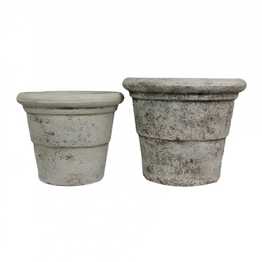 Conjunto 2 cachepôs Branco em Plástico com Textura de Concreto Greenway - 34x41 cm