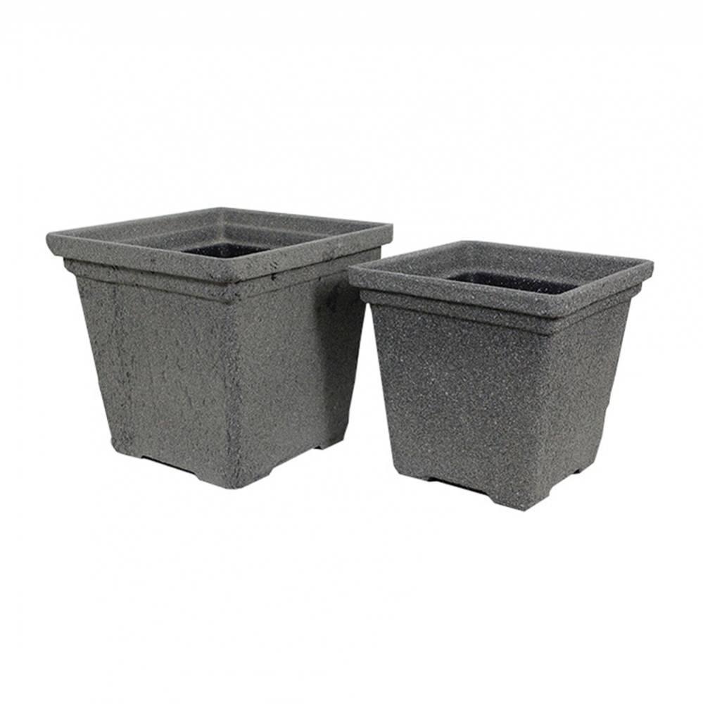Conjunto 2 cachepôs Quadrados em Plástico com Textura de Concreto Greenway - 33x36 cm