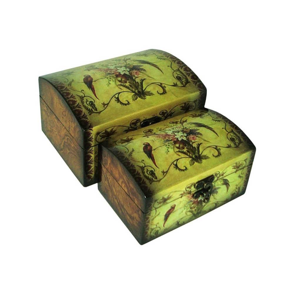 Conjunto 2 Caixas Arara em Madeira e Laca - 20x15 cm