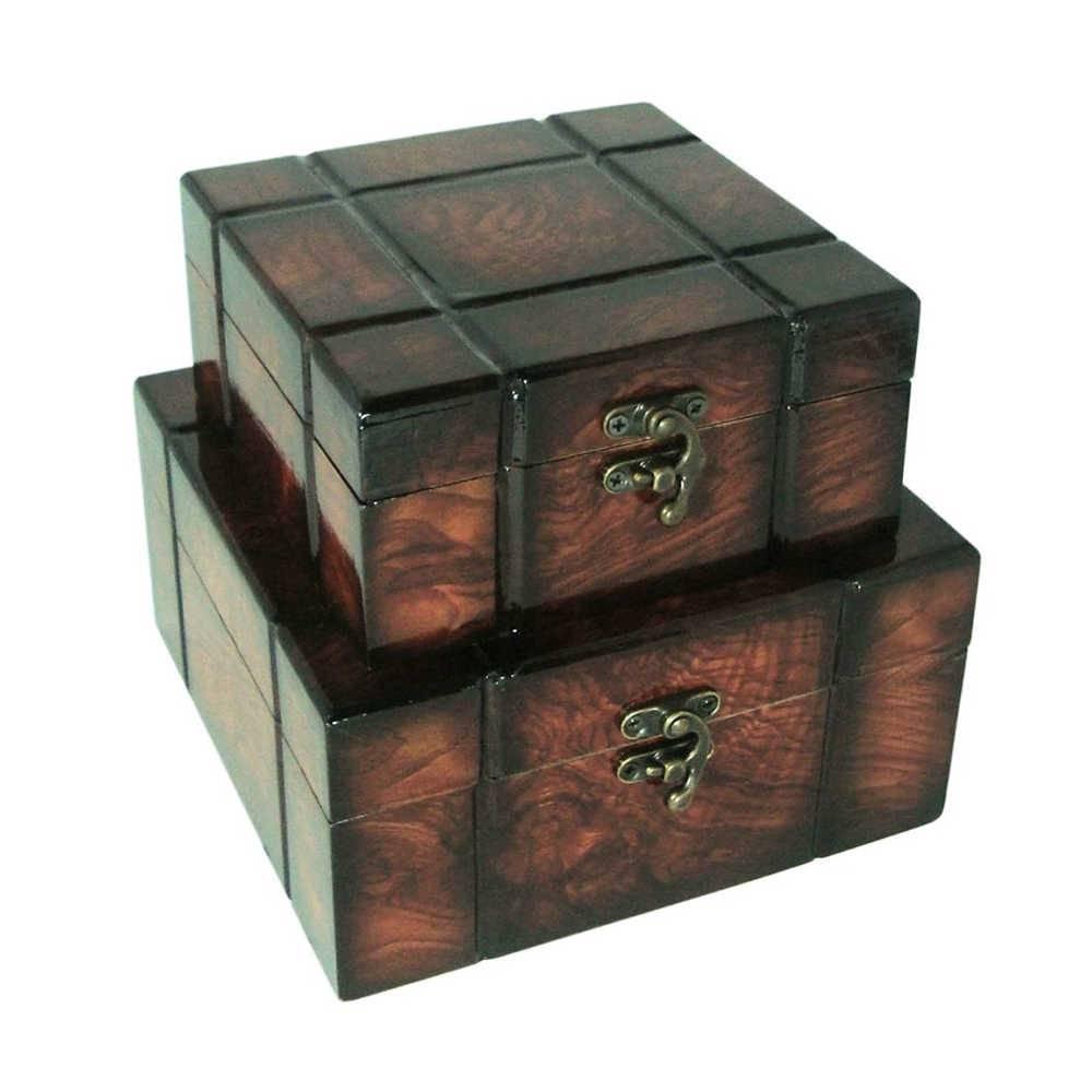 Conjunto 2 Caixas Quaddra Marrom em Madeira e Laca - 18x9 cm