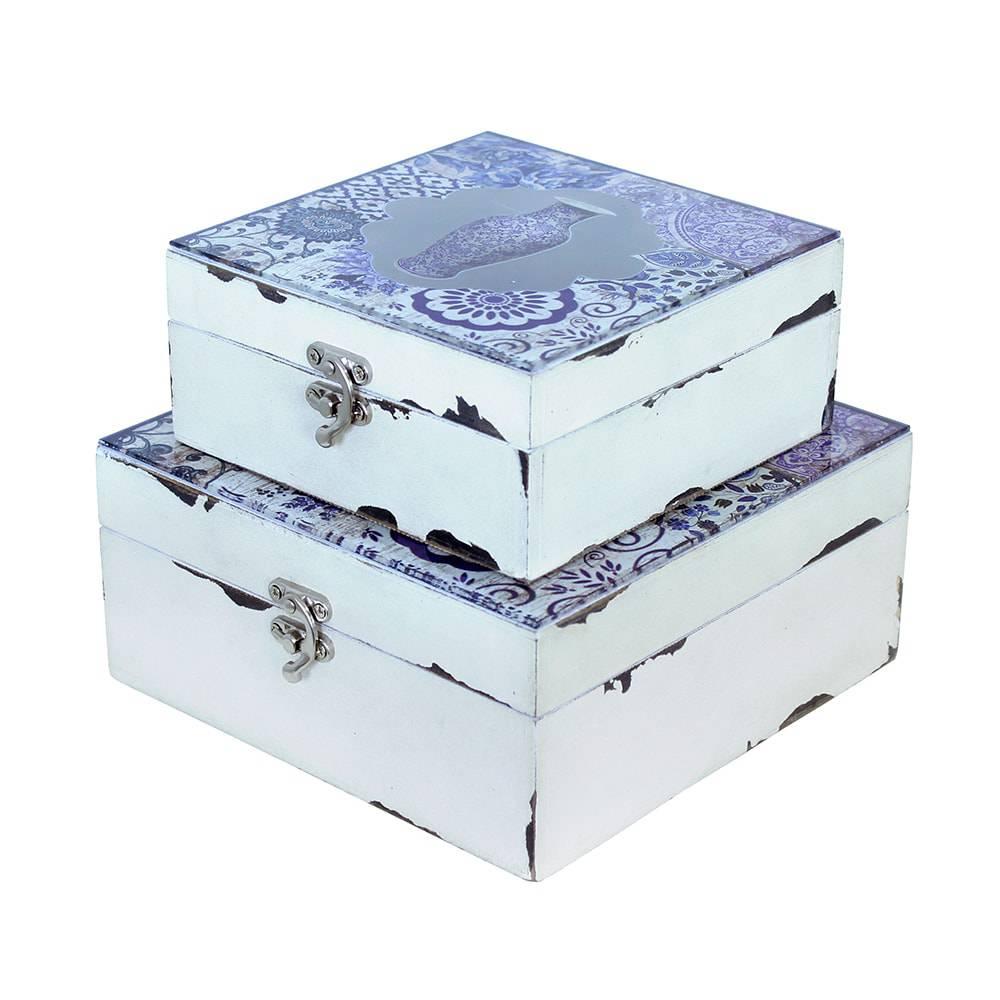 Conjunto 2 Caixas Vaso Azul com vidro Oldway - 20x9 cm