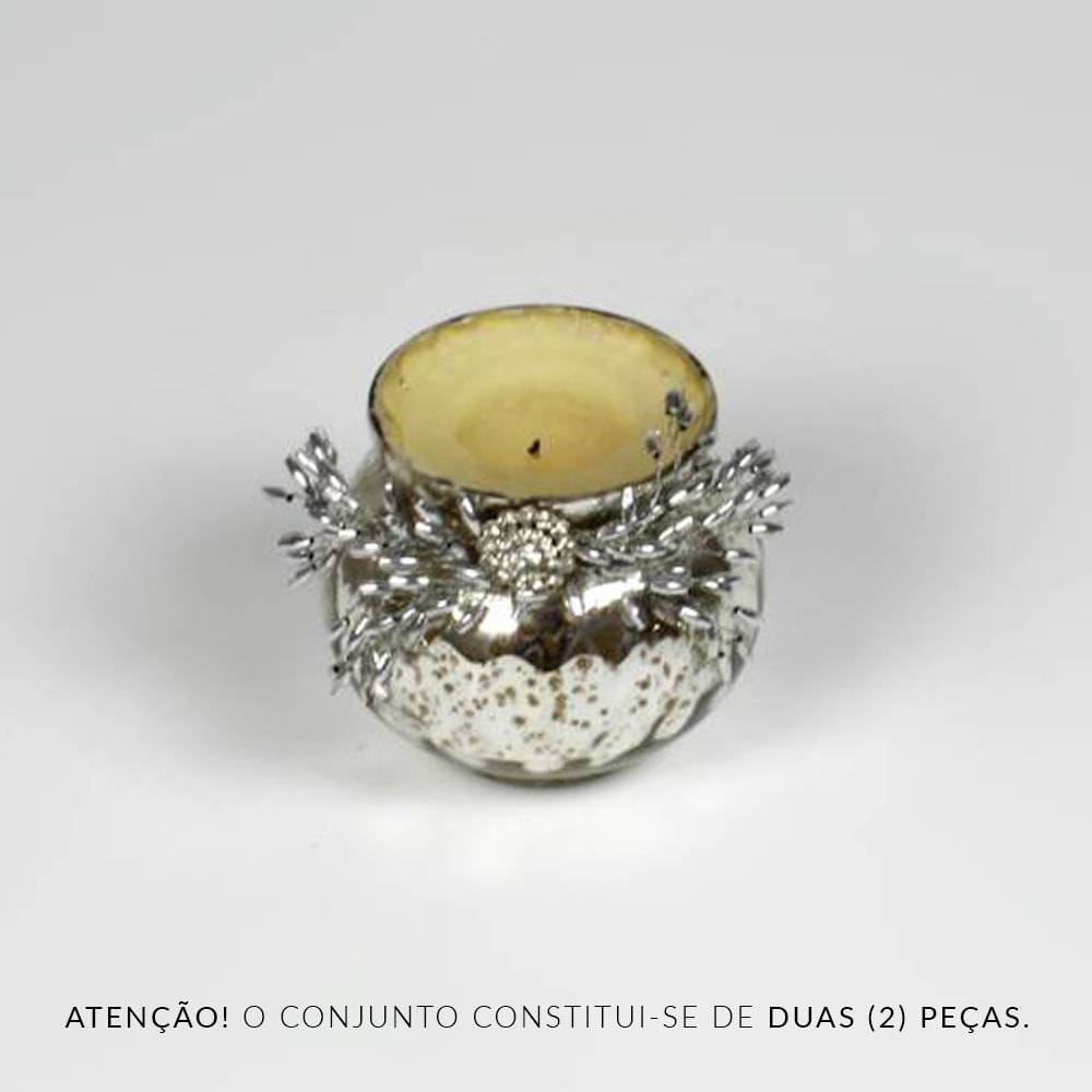 Conjunto 2 Castiçais Flower Prateados em Vidro - Prestige - 3x3 cm