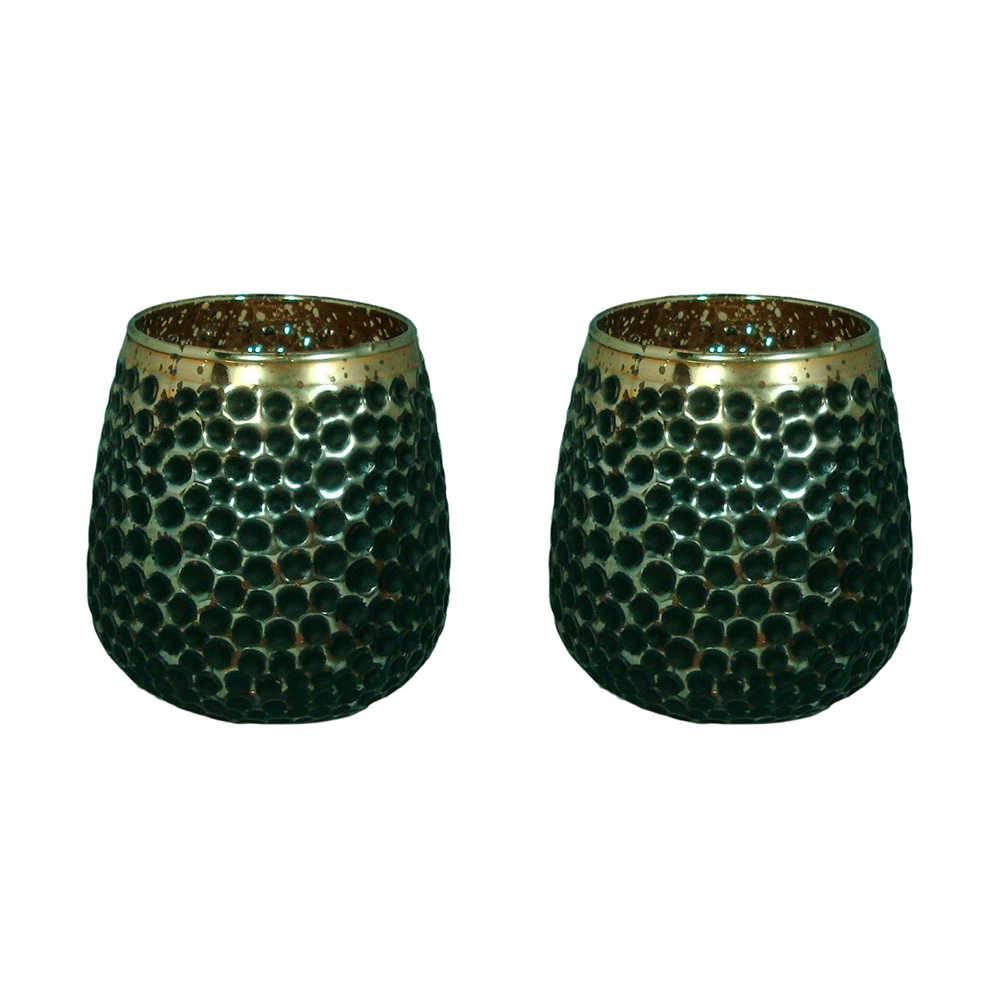 Conjunto 2 Castiçais Lumen Fiona Pequenos Dourado e Preto em Vidro - 14x12 cm