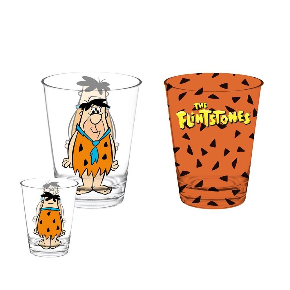 Conjunto 2 Copos Caldereta Hanna Barbera Fred Flintstones em Vidro - 312 ml - Urban - 12,7x8 cm