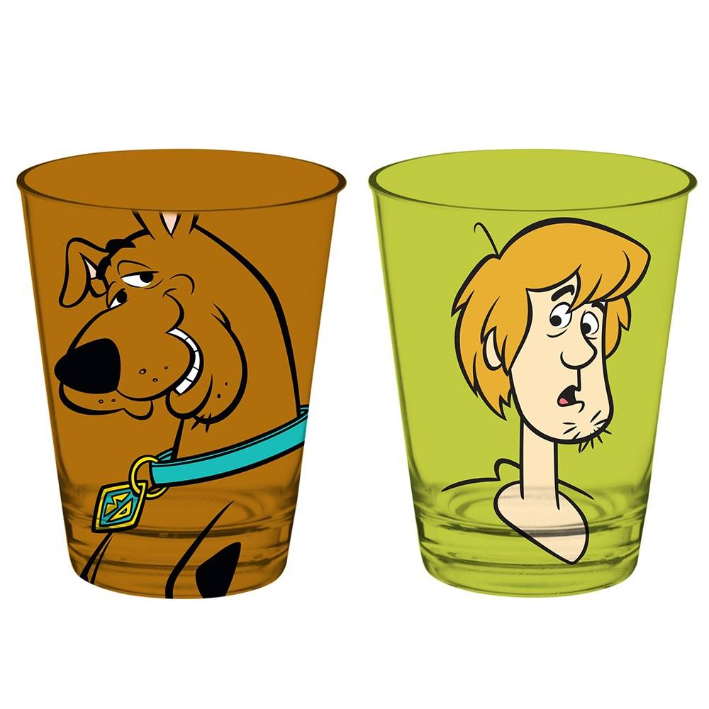 Conjunto 2 Copos Caldereta Hanna Barbera Scooby And Shaggy Coloridos em Vidro - 312 ml - Urban - 12,7x8 cm