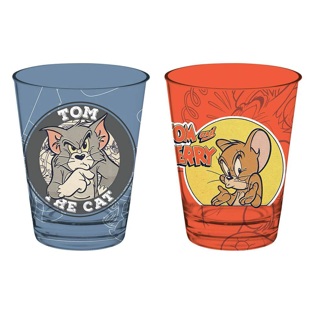 Conjunto 2 Copos Caldereta Hanna Barbera Tom And Jerry Mad Cat/Mouse em Vidro - 312 ml - Urban - 12,7x8 cm