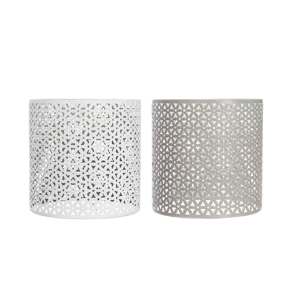 Conjunto 2 Cúpulas para Pendente Oriental Branco e Cinza em Metal - 23x22,5 cm