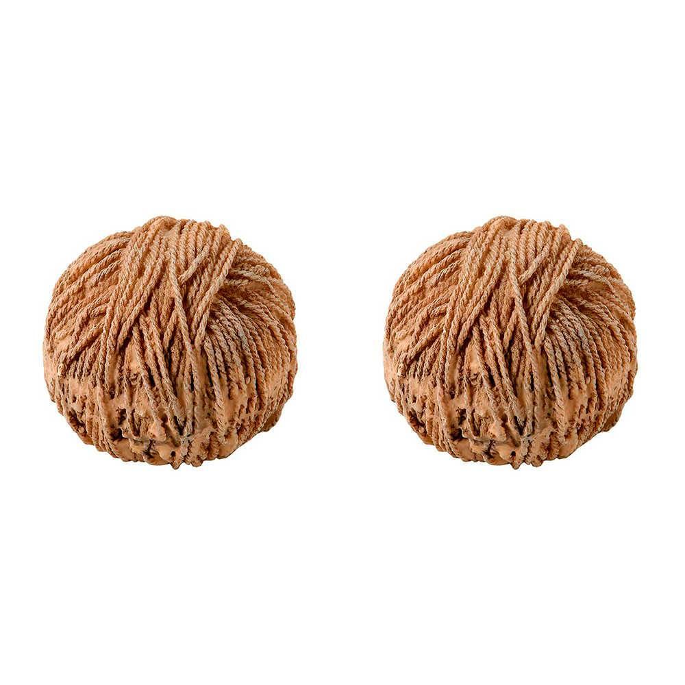 Conjunto 2 Enfeites Decorativos Novelos de Lã Bege em Resina - 7x7 cm