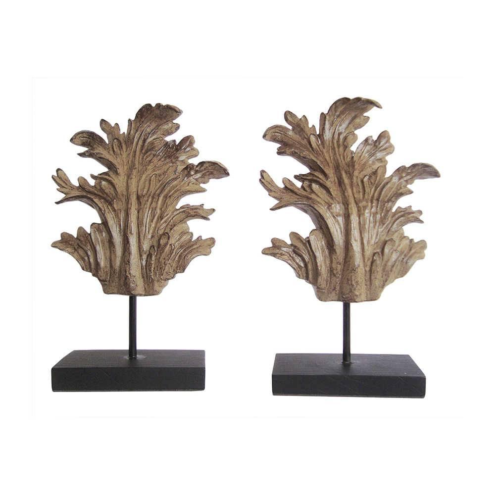 Conjunto 2 Esculturas Provençais Leaf Pequenas em Resina - 35x22 cm