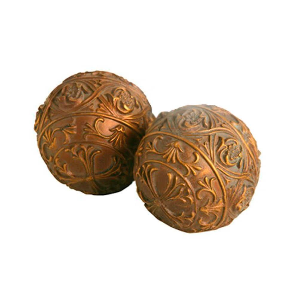 Conjunto 2 Esferas Decorativas Astral Marrom e Bronze em Resina - 9x9 cm