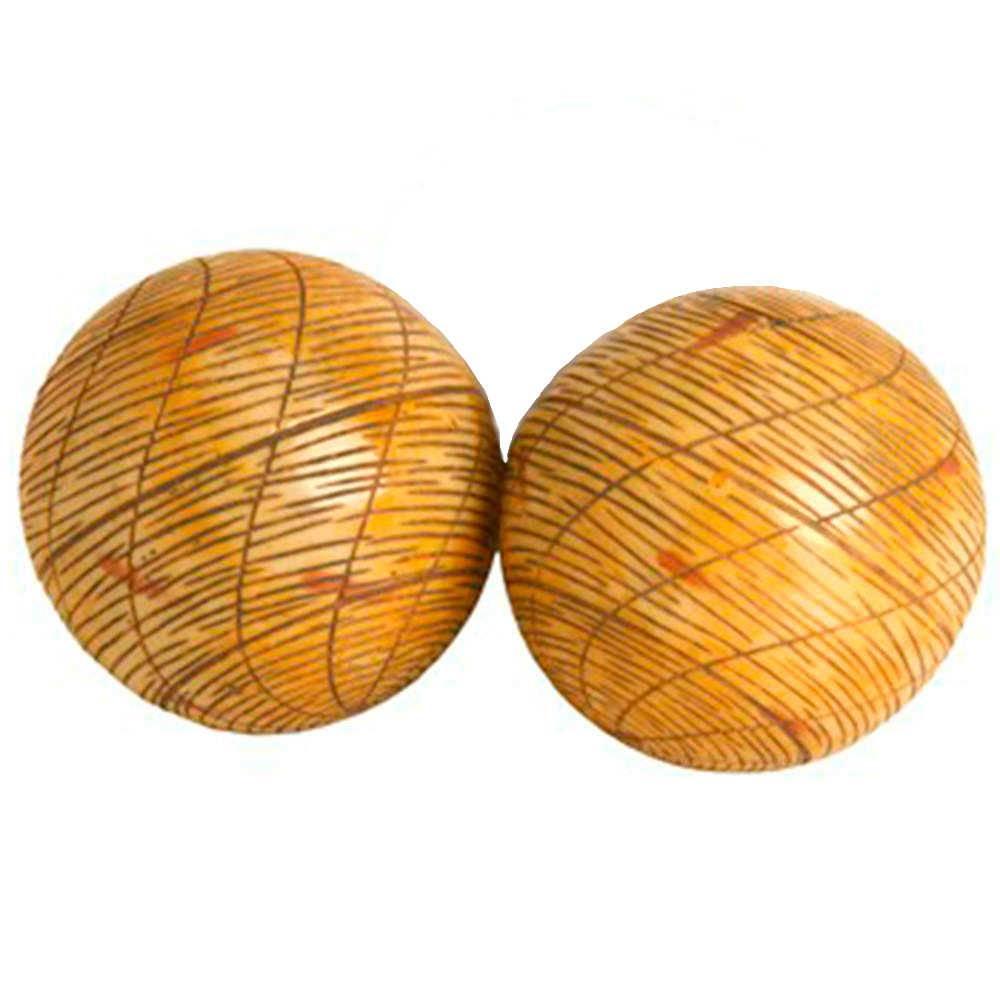 Conjunto 2 Esferas Decorativas Hemisphere Bege em Resina - 9x9 cm