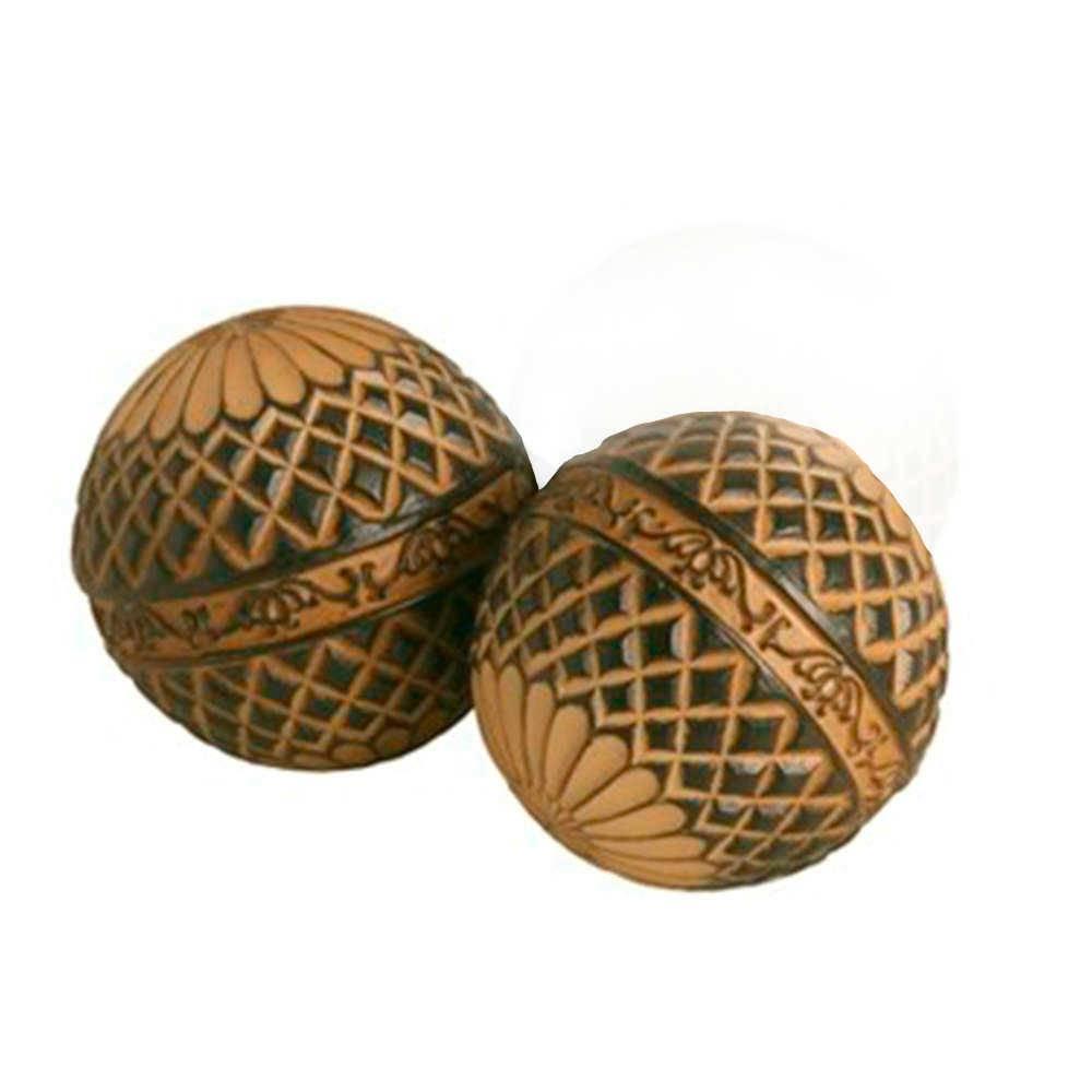 Conjunto 2 Esferas Decorativas Macau Marrom e Preto em Resina - 9x9 cm