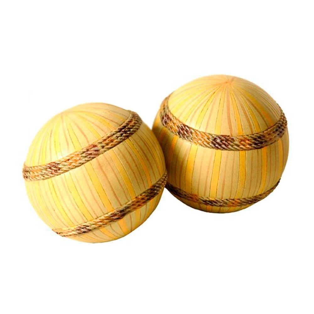 Conjunto 2 Esferas Decorativas Spirit Amarelas em Resina - 9x9 cm