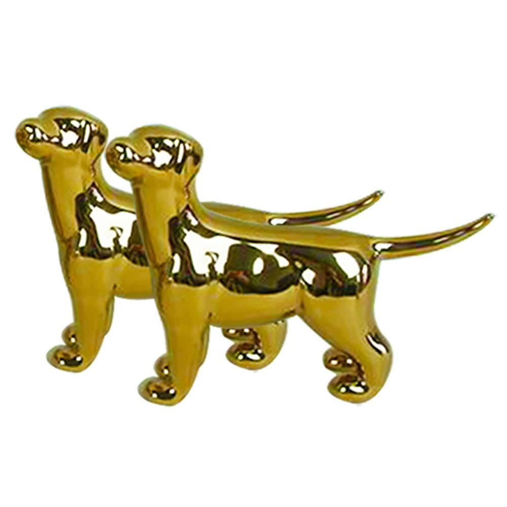 Conjunto 2 Estatuetas Cute Dog Dourado em Cerâmica - Urban - 23x15 cm