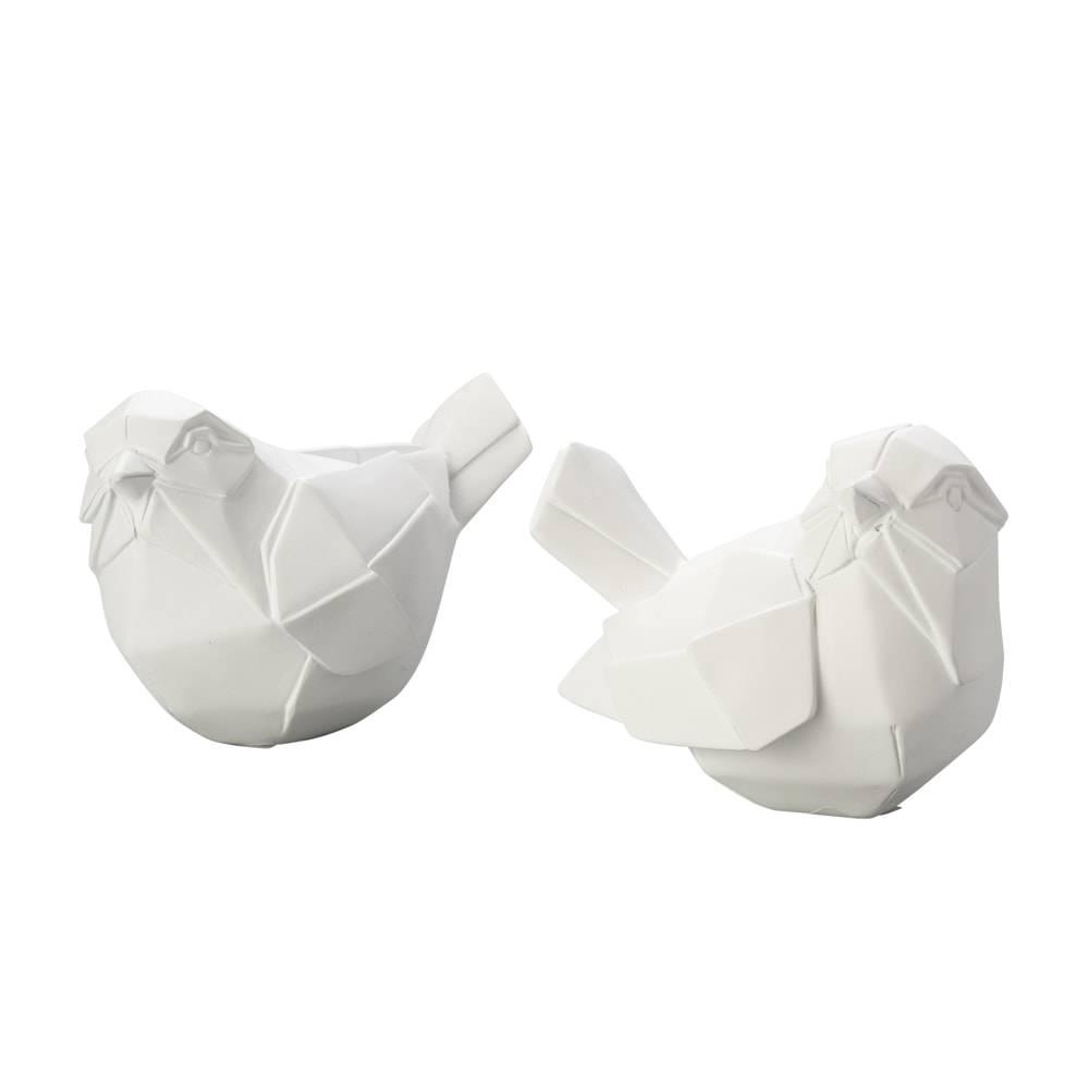 Conjunto 2 Estatuetas Pássaros Origami em Poliresina - Lyor Classic - 14 cm