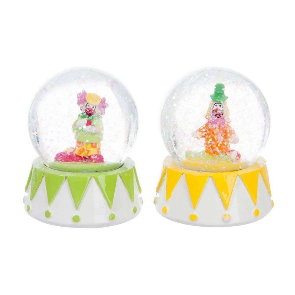 Conjunto 2 Globos de Neve Palhaços Pequenos Multicoloridos - 9x7 cm