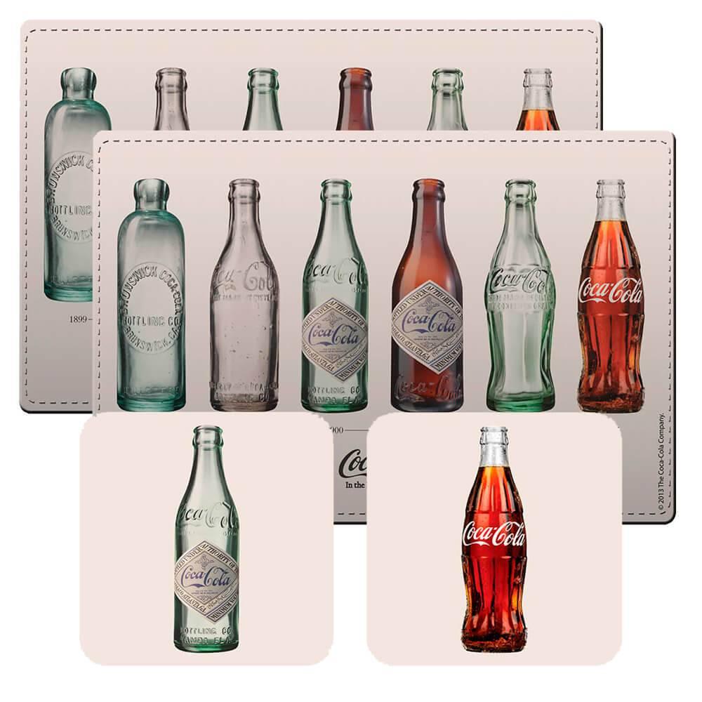 Conjunto 2 Jogos Americanos e 2 Porta-Copos Coca-Cola Bottle Evolution em Cortiça - Urban - 40x30 cm