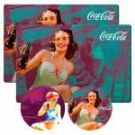 Conjunto 2 Jogos Americanos e 2 Porta-Copos Coca-Cola Brunette Lady em Cortiça - Urban - 40x30 cm