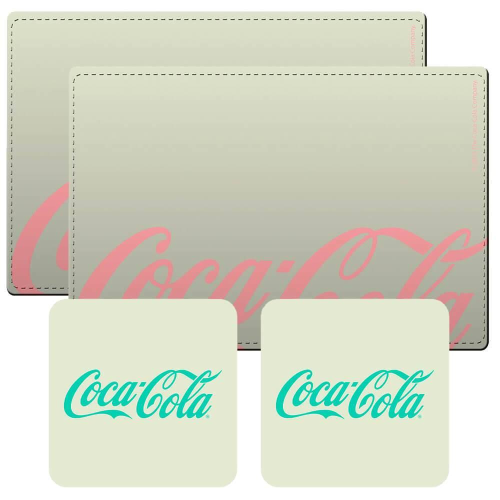 Conjunto 2 Jogos Americanos e 2 Porta-Copos Coca-Cola Contemporary em Cortiça - Urban - 40x30 cm