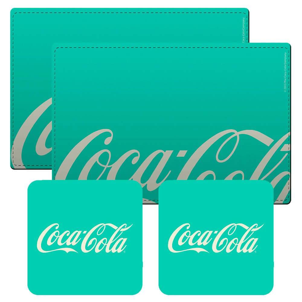 Conjunto 2 Jogos Americanos e 2 Porta-Copos Coca-Cola Contemporary Green em Cortiça - Urban - 40x30 cm