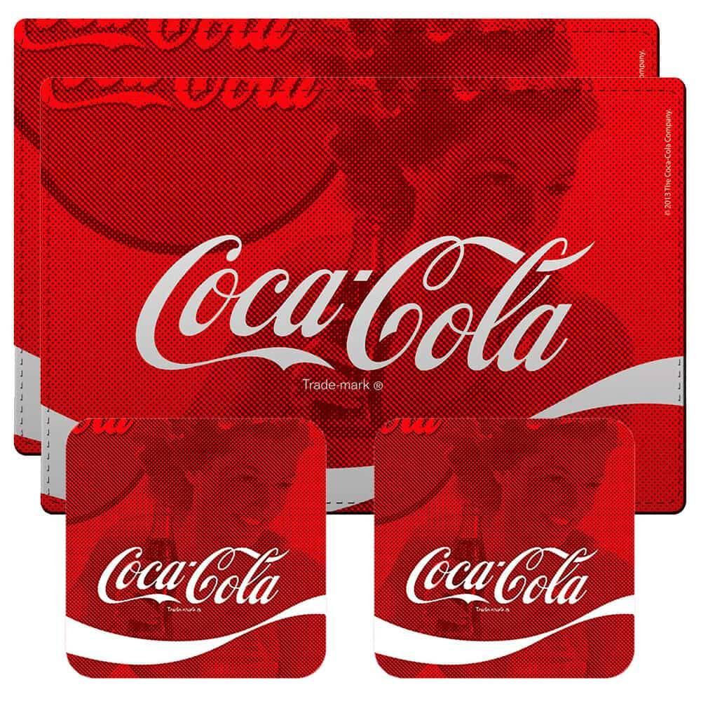 Conjunto 2 Jogos Americanos e 2 Porta-Copos Coca-Cola Wave Vermelho em Cortiça - Urban - 40x30 cm