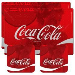 Conjunto 2 Jogos Americanos e 2 Porta-Copos Coca-Cola Wave