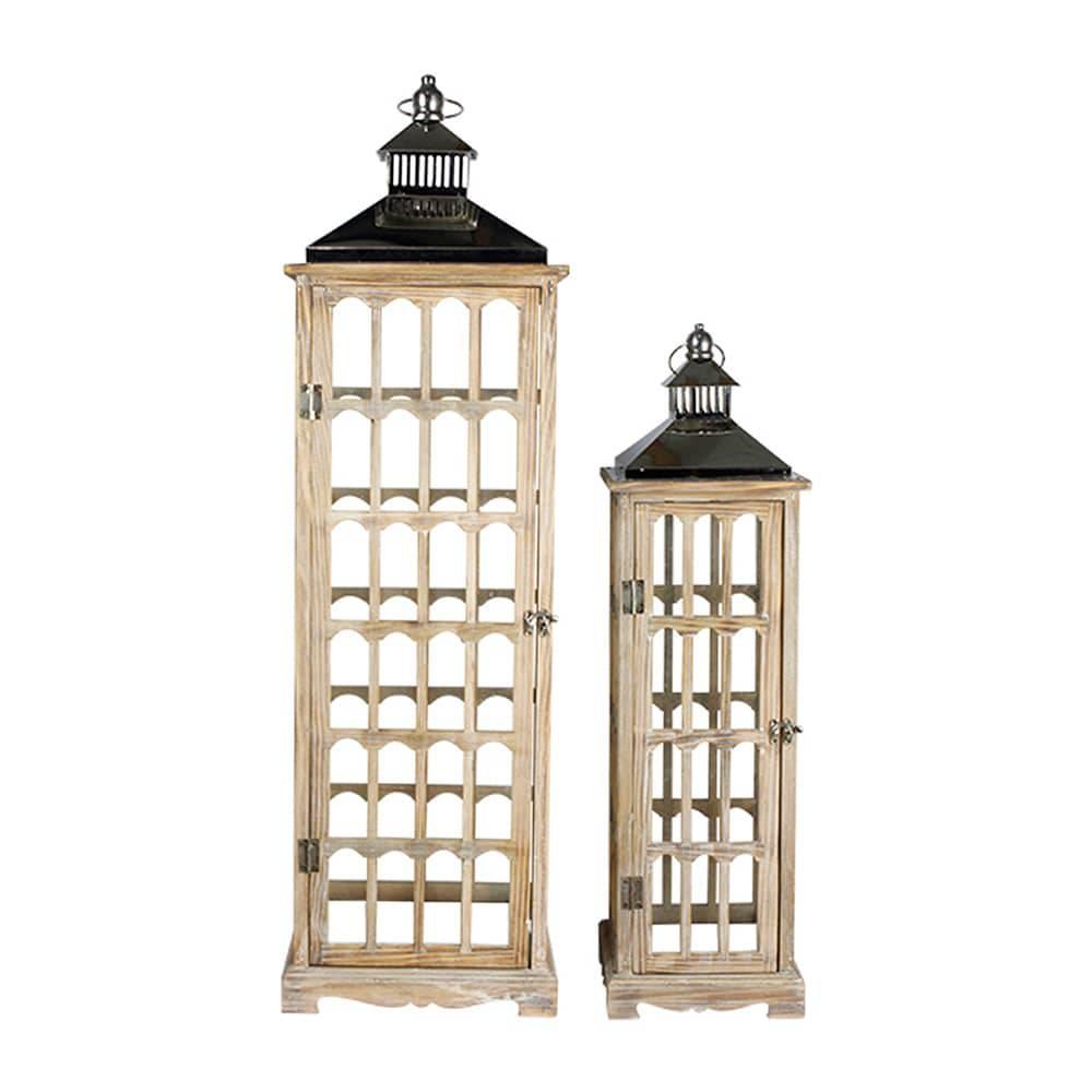 Conjunto 2 Lanternas em Madeira e Inox Oldway - 93x28 cm