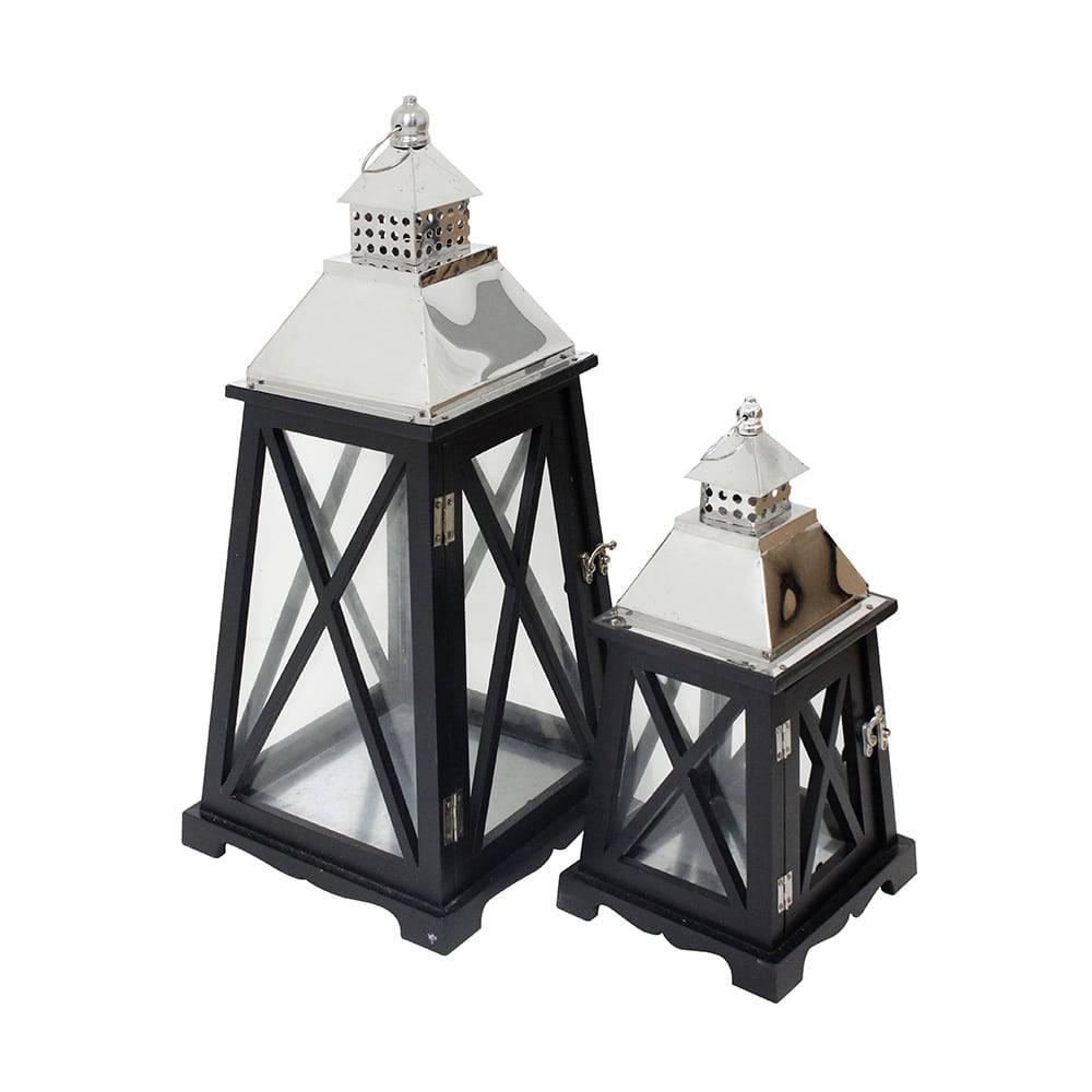 Conjunto 2 Lanternas Preta e Prata em Madeira e Inox Oldway - 59x27 cm