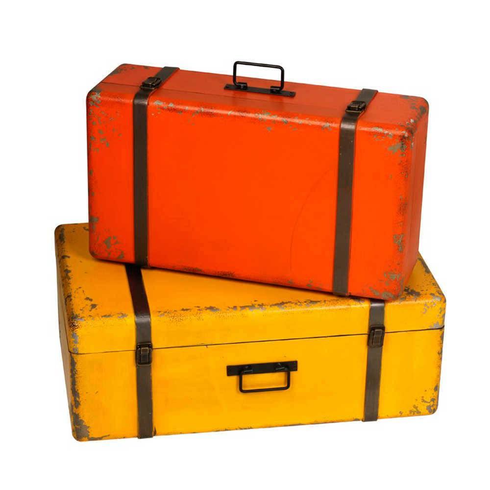 Conjunto 2 Maleta Decorativas Envelhecidas - Vermelha e Amarela - em Madeira - 50x30 cm