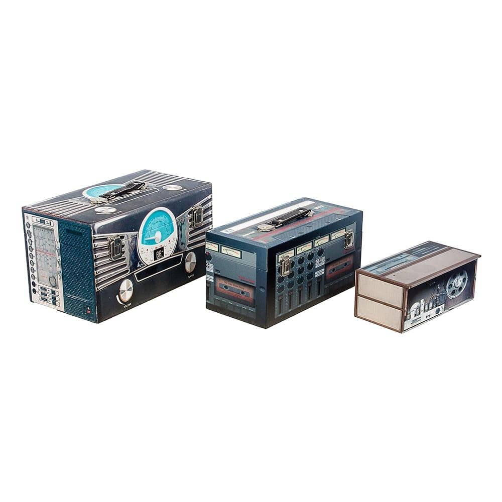 Conjunto 2 Maletas e 1 Caixa Estampa Rádio Design Fullway em MDF - 37x20 cm