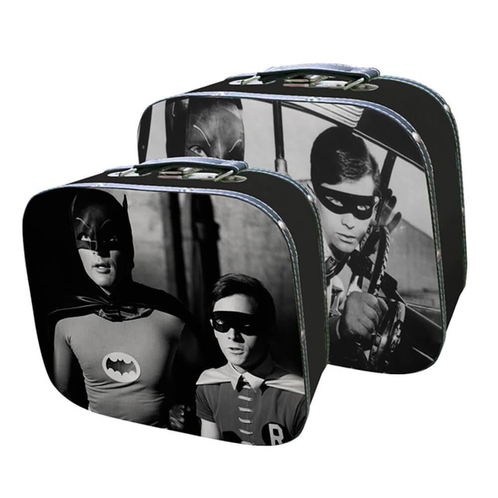 Conjunto 2 Maletas DC Comics Movie Batman And Robin In Scene em MDF e Lona - Urban - 33x29 cm