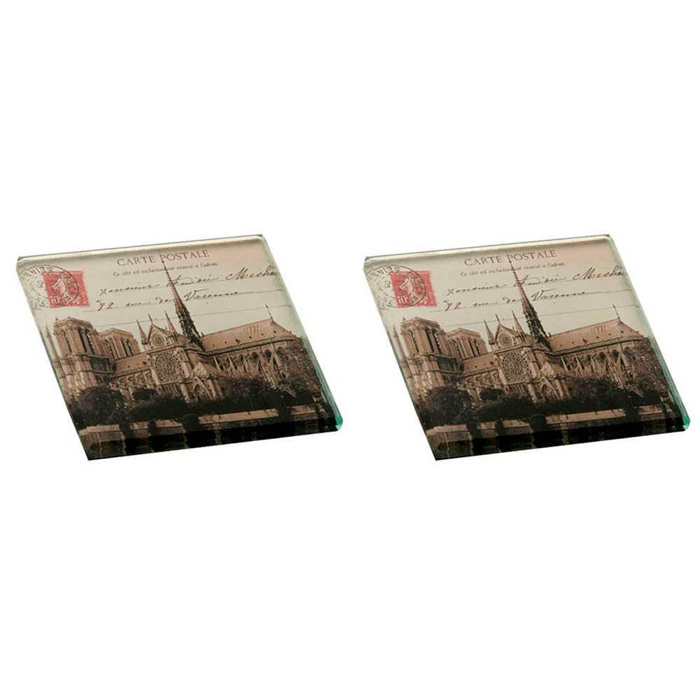 Conjunto 2 Pesos para Papel Carte Postale Notre Dame Cinza em Vidro - 8x8 cm