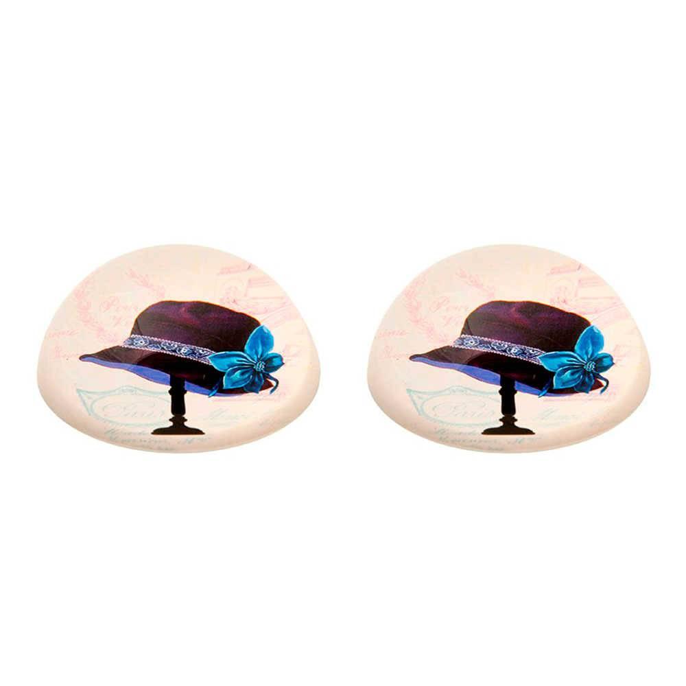 Conjunto 2 Pesos para Papel Chapéu com Flor Azul em Vidro - 8x3 cm