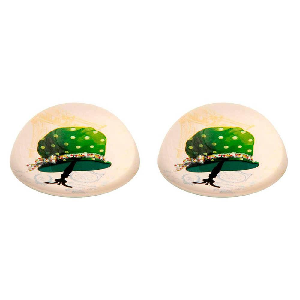 Conjunto 2 Pesos para Papel Chapéu Verde com Fundo Branco em Vidro - 8x3 cm
