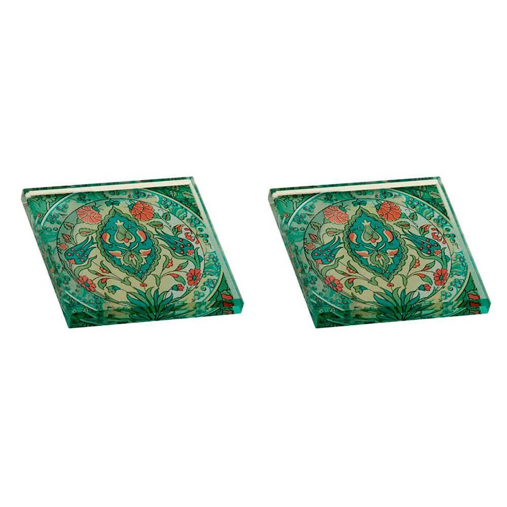 Conjunto 2 Pesos para Papel Estampa Verde e Vermelha em Vidro - 8x8 cm