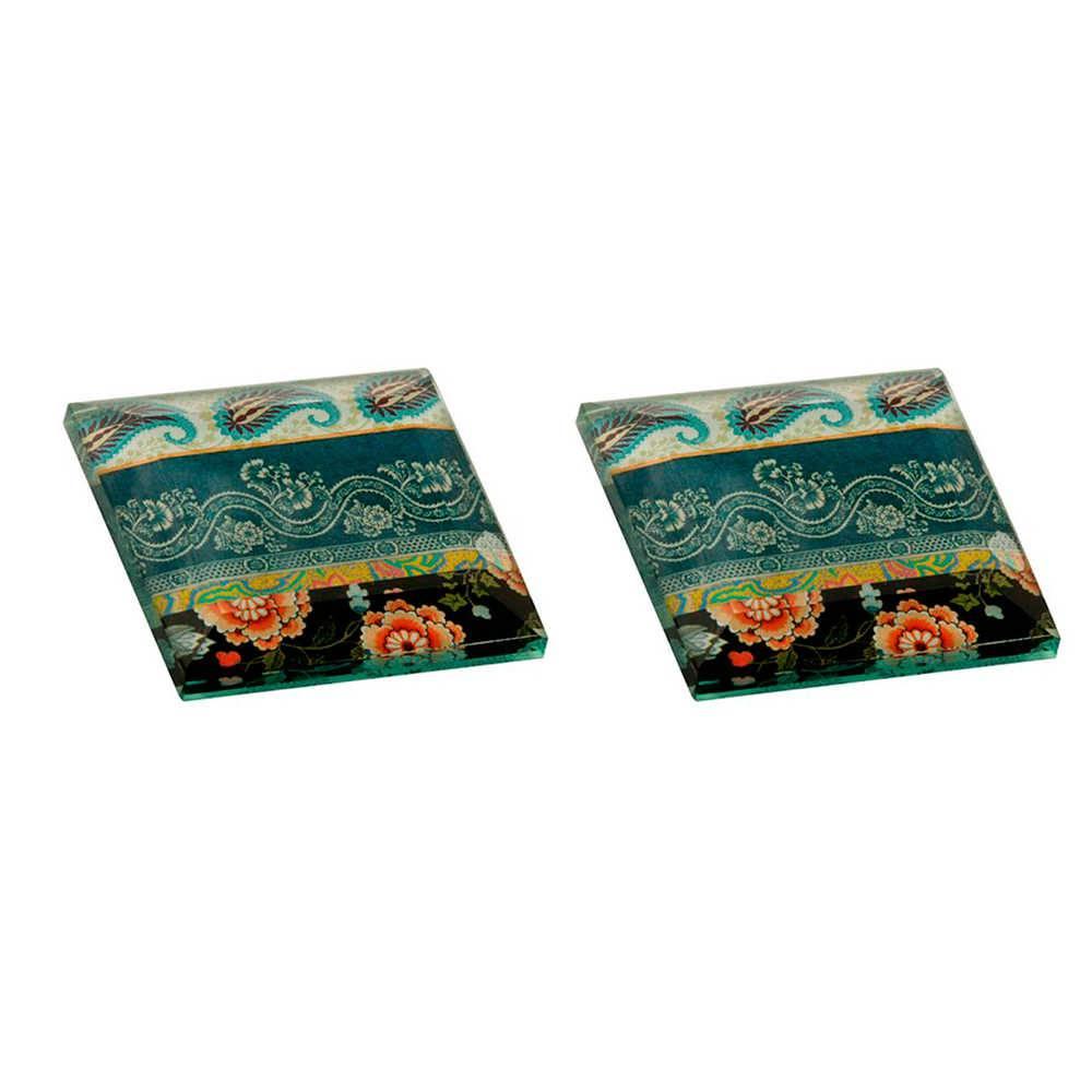Conjunto 2 Pesos para Papel Estampado Colorido em Vidro - 8x1 cm