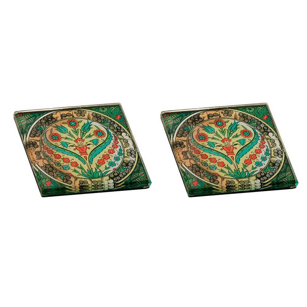 Conjunto 2 Pesos para Papel Estampados com Fundo Verde em Vidro - 8x8 cm