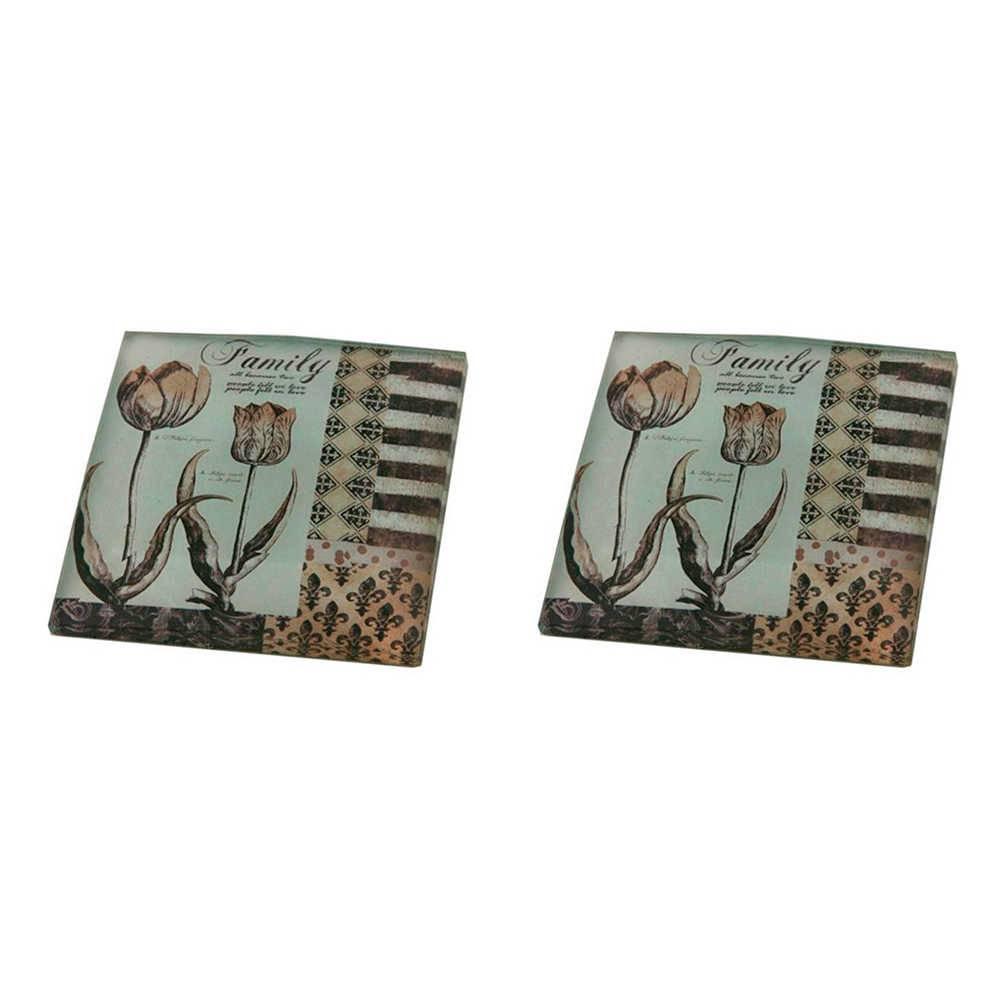 Conjunto 2 Pesos para Papel Family Laranja e Branco em Vidro - 8x8 cm