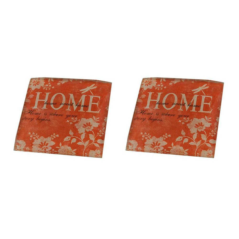 Conjunto 2 Pesos para Papel Home Laranja e Branco em Vidro - 8x8 cm
