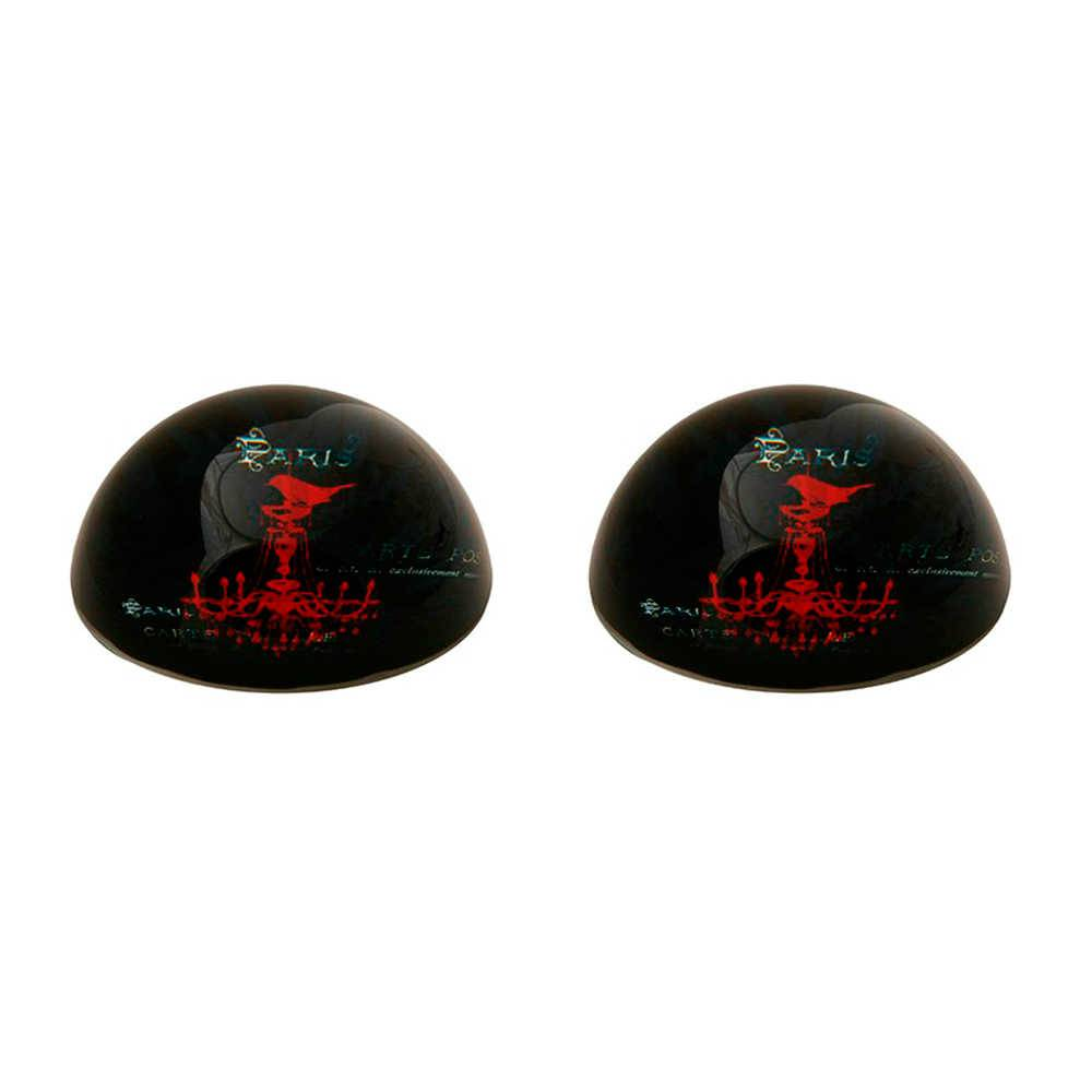 Conjunto 2 Pesos para Papel Lustre Paris Preto em Vidro - 8x3 cm