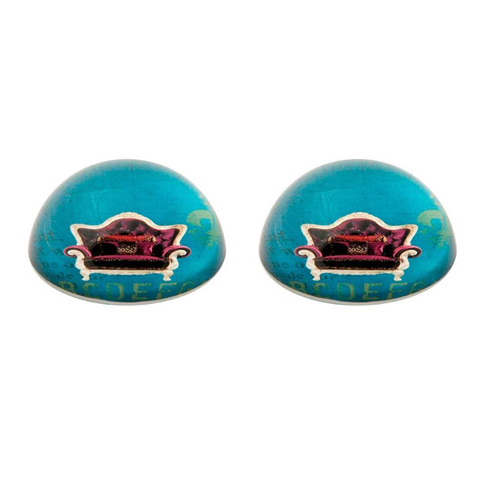 Conjunto 2 Pesos para Papel Poltrona Roxa com Fundo Azul em Vidro - 11x3 cm