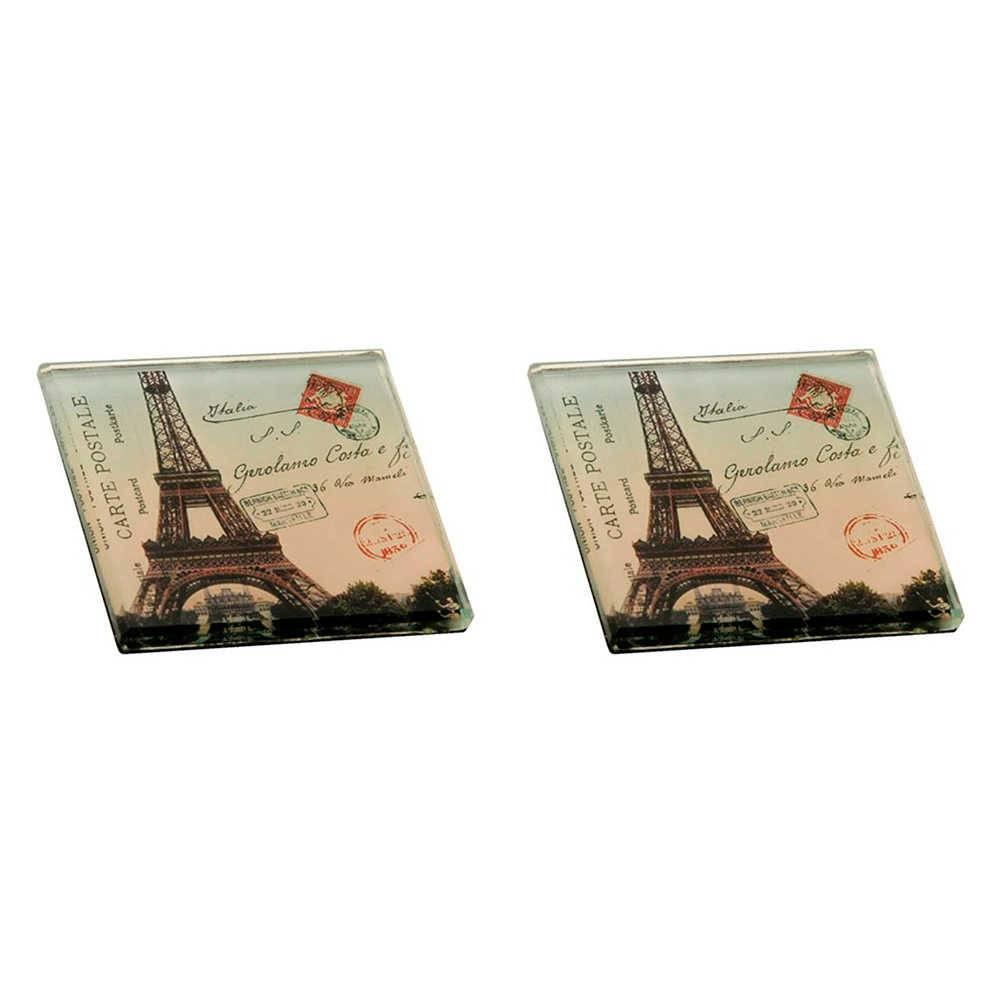 Conjunto 2 Pesos para Papel Torre Eiffel com Fundo Branco em Vidro - 8x8 cm