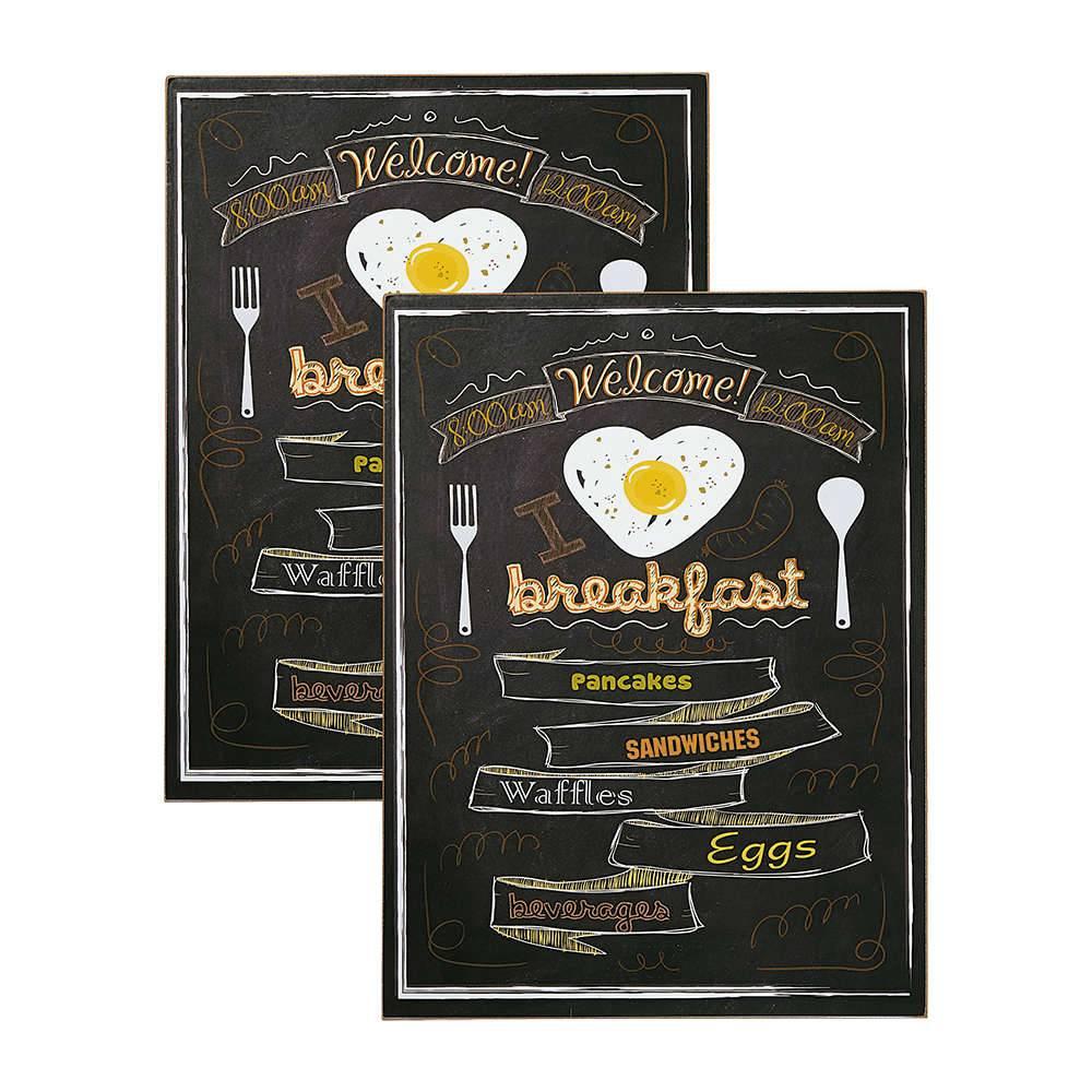 Conjunto 2 Placas Decorativas I Love Breakfast em MDF - 40x30 cm